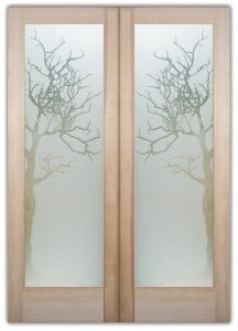 double glass doors frosted glass rustic decor trees branches