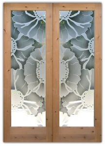 double interior glass doors etched glass eclectic decor sunflower pattern floral design