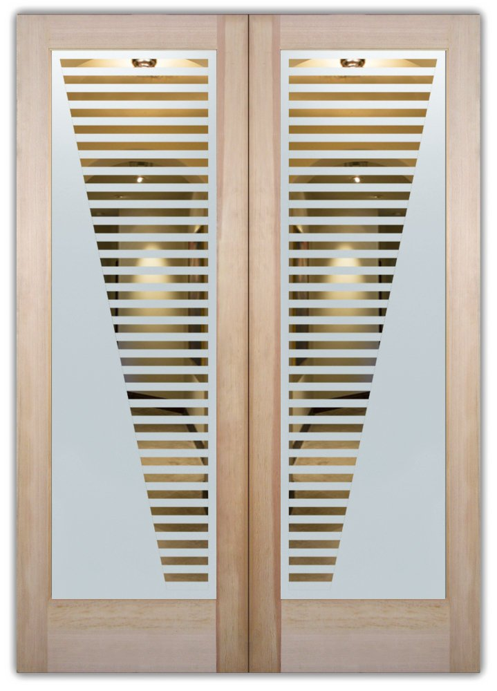 Sleek bands etched glass front doors modern design for Etched glass entry doors