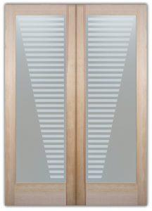 double entry doors sandblasted glass modern decor geometric shapes sleek bands sans soucie
