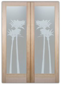 double entry doors with glass etched glass tropical decor leaves sunshine foliage palms gleaming sans soucie