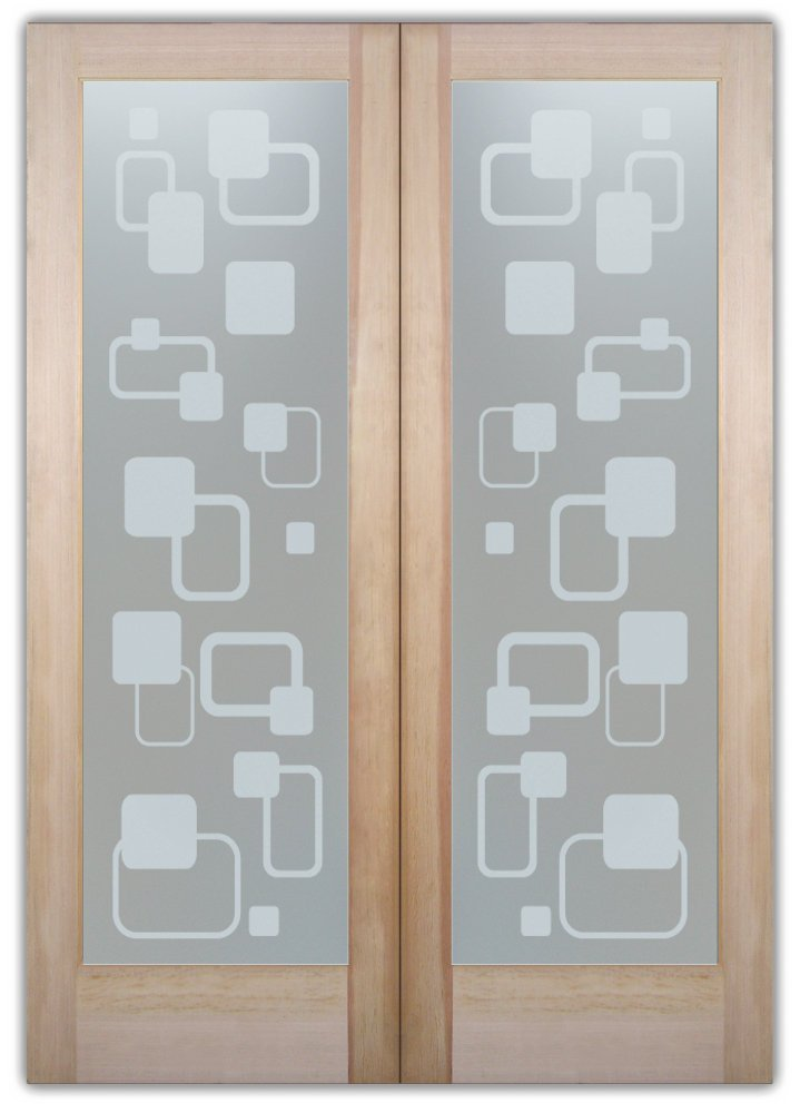 Rhombus Modern Design Interior Etched Glass Doors
