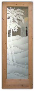 glass entry door sandblasted glass western style desert scene palm trees