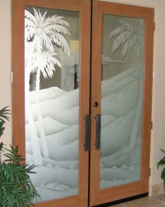 double entry glass doors western decor etched glass desert scene