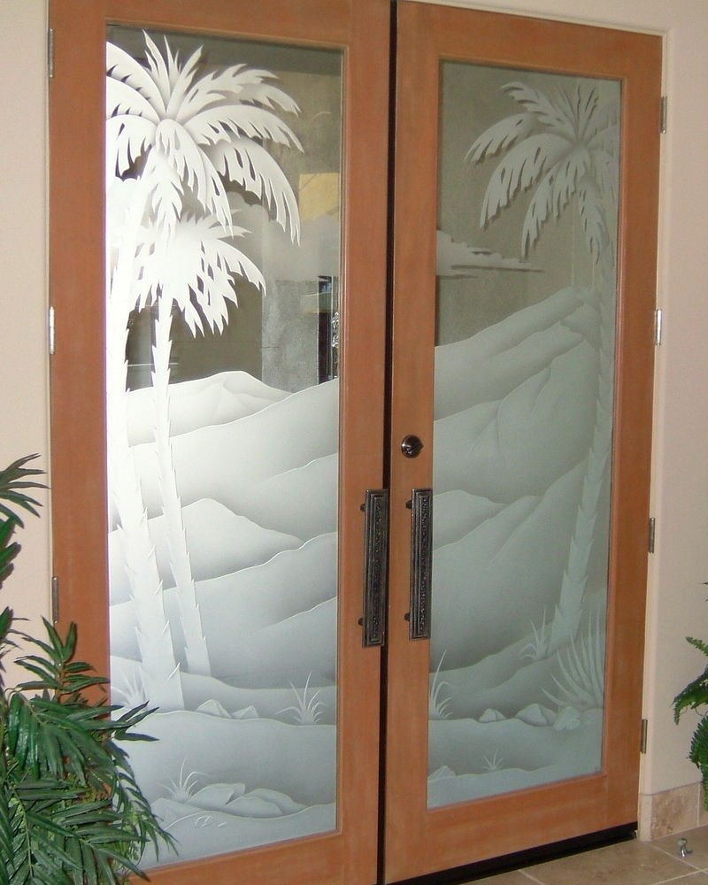 desert palms i 3d etched glass doors western decor style