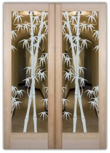 double entry doors glass etching Asian decor stalks wooden outdoors bamboo shoots sans soucie
