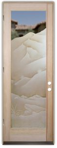 Interior Glass Doors Etched Glass Western Decor Mountains Foliage