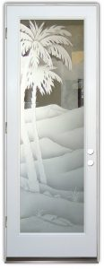 exterior glass doors western etched glass desert palm tree