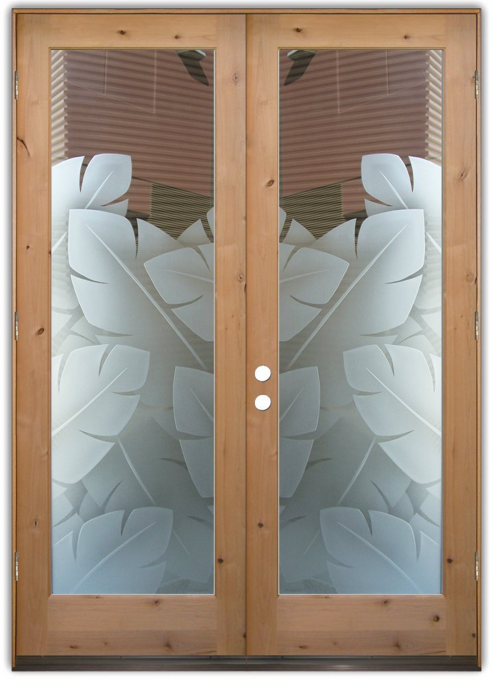 Delicieux Double Entry Doors Frosted Glass Leaves Tropical Decor Plant Sans Soucie