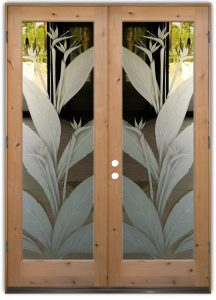 double glass doors etched glass tropical decor bird of paradise