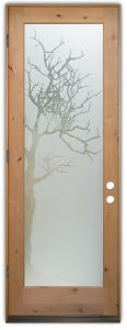 glass entry door etched glass rustic decor tree branches