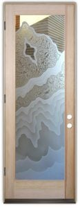 front doors with glass etching frosted dips waves formations rustic style