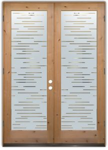 double entry doors glass etching modern decor linear geometric patterns finer lines sans soucie