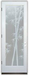 Interior Glass Doors Etched Glass Asian Style leaves trees Bamboo Shoots Sans Soucie