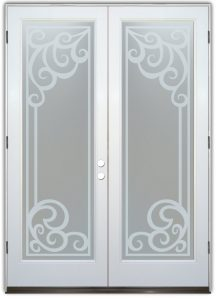 double entry doors glass etching Tuscan decor intricate flourishes concorde sans soucie