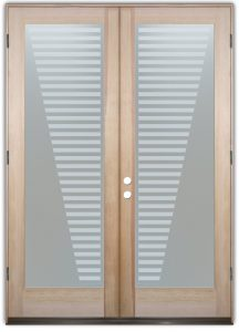 double entry doors with glass etched glass designs modern decor linear patterns sleek bands sans soucie