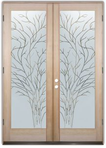 double entry doors frosted glass rustic decor outdoors nature wispy tree sans soucie