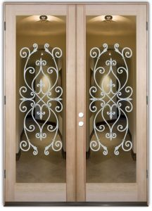 double entry doors glass etching tuscan style ornate patterns lacy corazones sans soucie