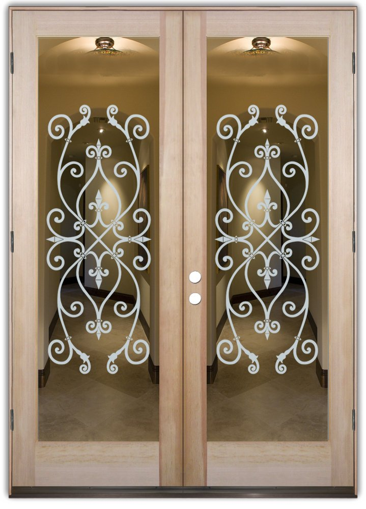 ... Double Entry Doors Glass Etching Tuscan Style Ornate Patterns Lacy  Corazones Sans Soucie