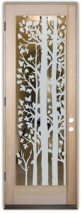 interior doors with glass etching etched glass rustic design nature foliage leaves forest trees sans soucie