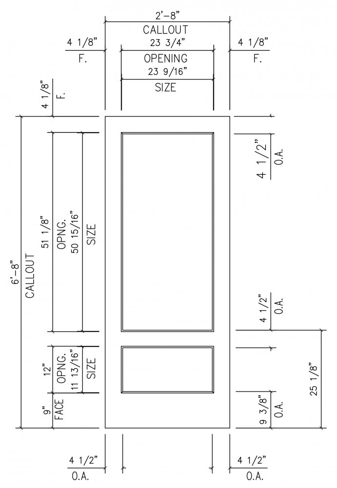 Door Frame Specs u2013 French 501 (3/4 Lite)  sc 1 st  Sans Soucie Art Glass & Door Frame Specs - French 501 (3/4 Lite) - Sans Soucie Art Glass