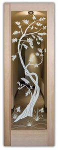glass doors glass etching asian decor nature trees sapling sans soucie