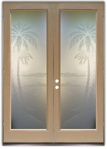 Double Entry Doors Etched Glass Beach Decor Palm Trees Tropical Decor Coastal