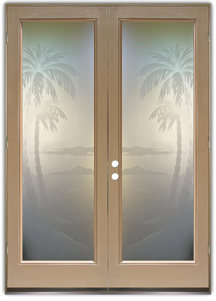 Palms 2d private pair etched glass doors beach decor for Etched glass entry doors