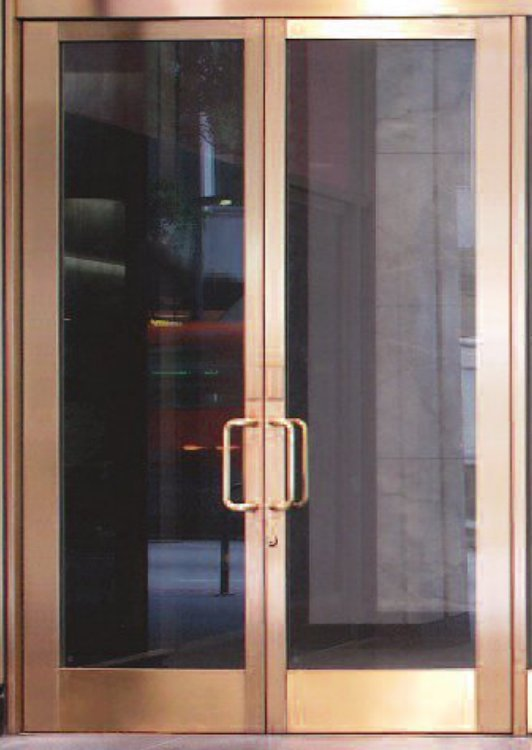 Stainless Steel Frame Doors Bronze by Sans Soucie Art Glass