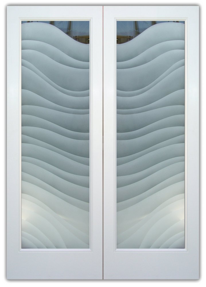 Entry Doors with Etched Glass Contemporary waves by Sans Soucie