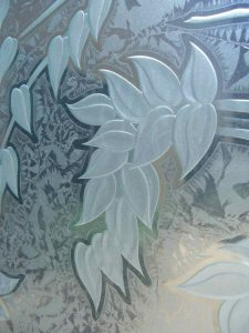 frosted glass asian decor cherry tree leaves carved texture