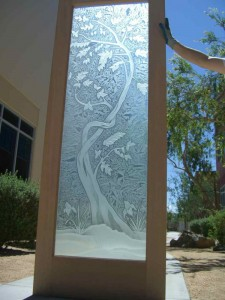 Sans Soucie Entry Door Inserts with Etched and Carved Glass