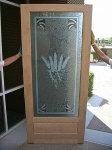 Glass Door Inserts Gluechipped Carved Wheat by Sans Soucie