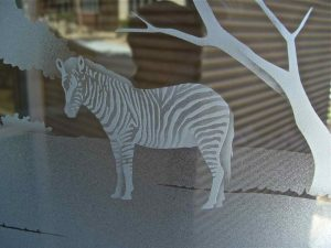 Door Inserts with Etched Glass and Shaded African zebra by Sans Soucie