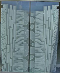Frameless Glass Door Pairs Shaded and Carved Etching Modern by Sans Soucie