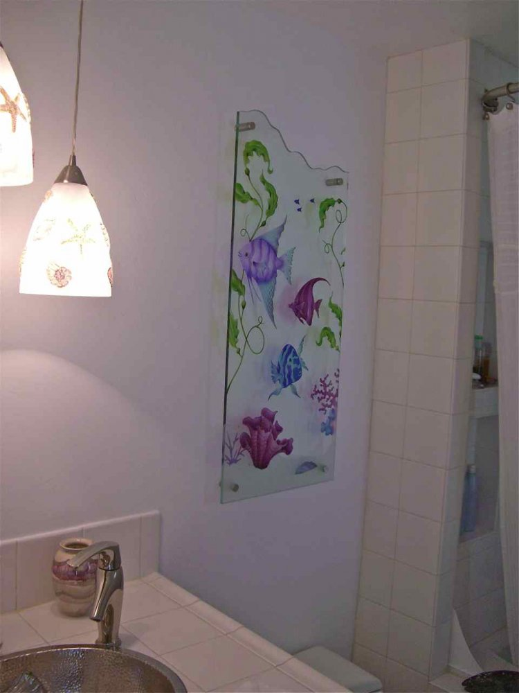 Glass Art For Walls Tropical Fish Seaweed Frosted Glass