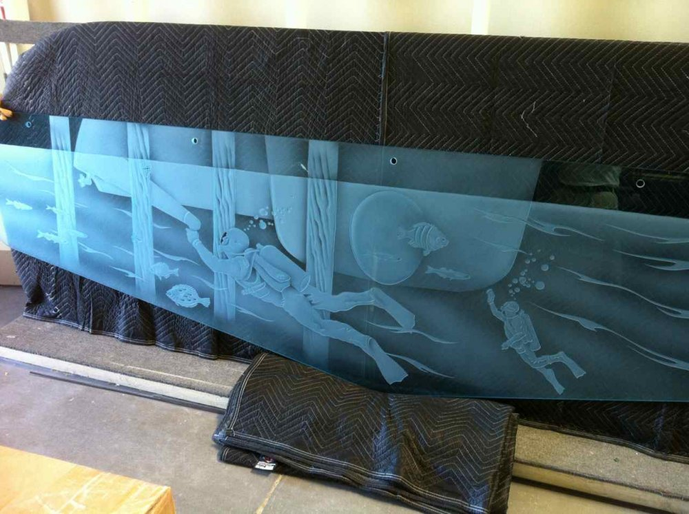 Frosted Glass Wall Art Long Beach Port Authority Scuba Divers