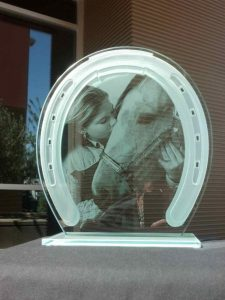 Glass Signs with Carved and Etched Glass horseshoe by Sans Soucie