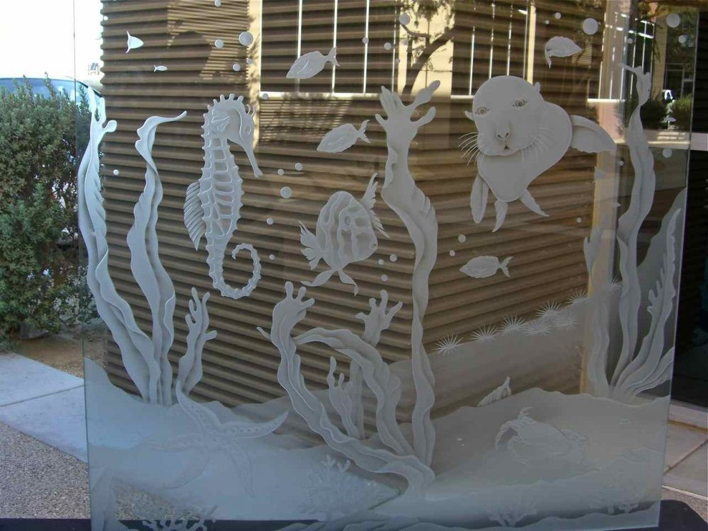 Glass Partitions etched glass seahorse sea lion fish