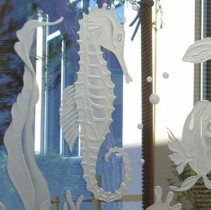 Glass Partitions Carved and Shaded seahorse by Sans Soucie