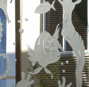 Glass Partitions Carved and Shaded fish by Sans Soucie