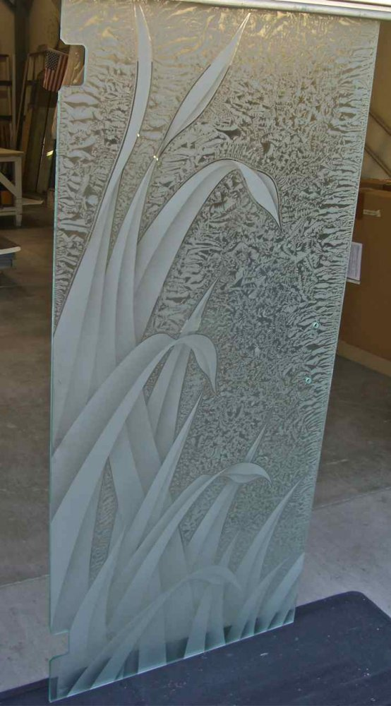 glass shower doors etched glass thick foliage reeds sans soucie