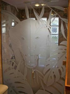 glass shower enclosures custom glass African style foliage animals eye of the tiger sans soucie