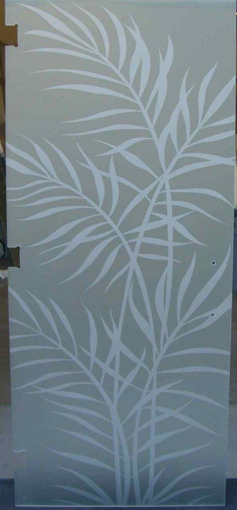 glass shower doors etched glass tropical style plants foliage ferns sans soucie