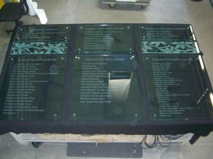 Sans Soucie Signs with Carved and Shaded Glass donor plaque
