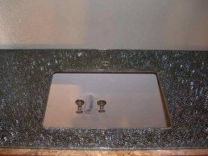 Vanity Top Shattered Glass over Grey Mirror by Sans Soucie