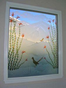 glass window custom glass western style birds blossoms ocotillo roadrunner sans soucie