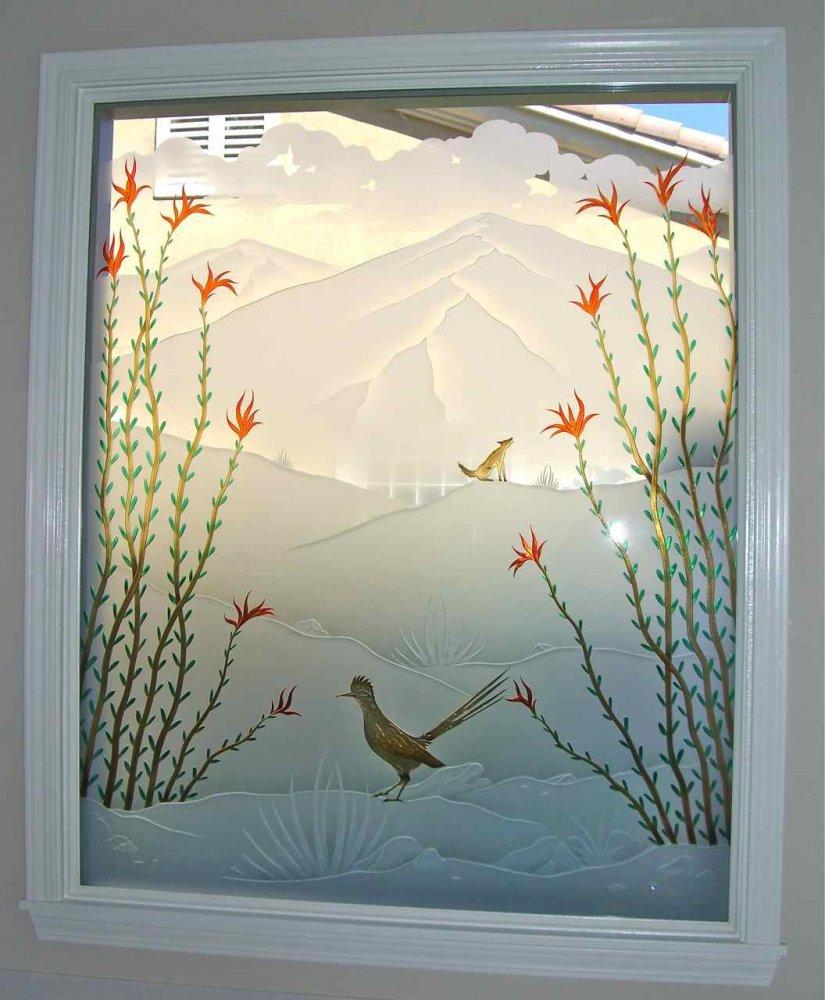 glass window etching glass western style desert hills ocotillo roadrunner sans soucie