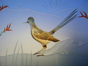sandblasted glass western style flowers mountains ocotillo roadrunner sans soucie