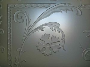 etched glass French decor ornate iron bars picturesque cala lillies ll sans soucie